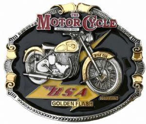 BSA Golden Flash Motorbike Gold and Silver Plated Belt Buckle. Code PA4